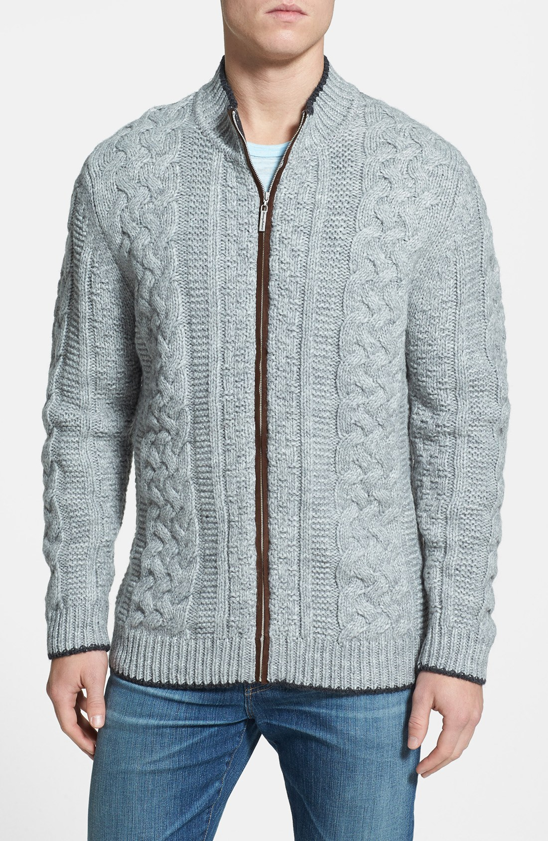 Tommy Bahama Upstate Cable Knit Wool Blend Cardigan In