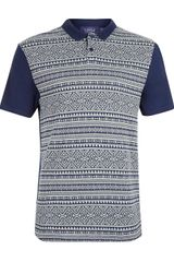 Topman Navy Textured Polo Shirt - Lyst