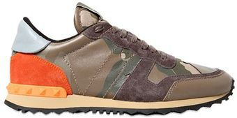 Valentino Leather Canvas Suede Studded Sneakers - Lyst