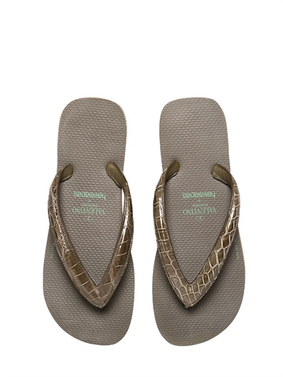lyst valentino crocodile rubber flip flops in green for men. Black Bedroom Furniture Sets. Home Design Ideas