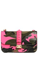Valentino Medium Lock Canvas and Leather Bag - Lyst