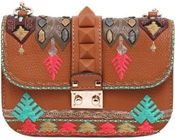 Valentino Small Lock Embroidered Leather Bag - Lyst