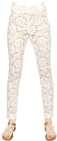 Valentino Cotton Viscose Heavy Lace Trousers - Lyst