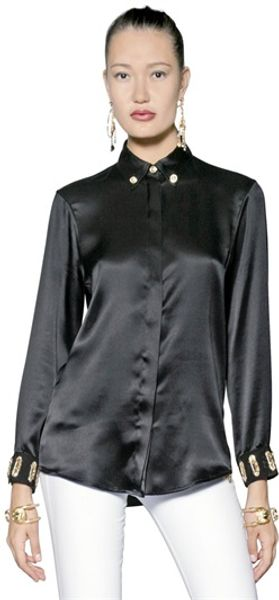 Versus  Pin Embellished Silk Satin Shirt - Lyst