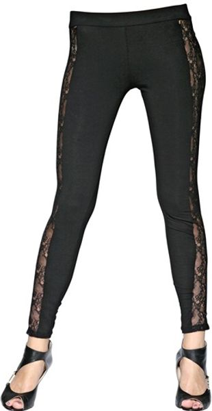 Versus  Stretch Jersey and Lace Leggings - Lyst