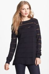 Vince Camuto Illusion Stripe Combed Cotton Sweater - Lyst