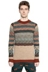 White Mountaineering Striped Wool Jacquard Sweater - Lyst