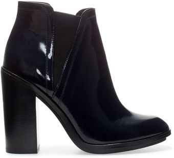 Zara Leather Ankle Boot with Wide Heel - Lyst