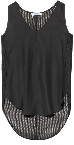 10 Crosby by Derek Lam Silk V Neck Top - Lyst
