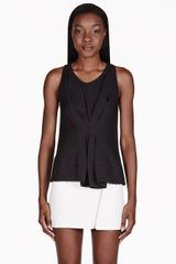 3.1 Phillip Lim Black Gathered Front Tank Top - Lyst