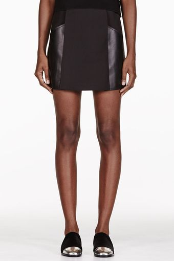 3.1 Phillip Lim Black Leather Panelled Mini Skirt - Lyst