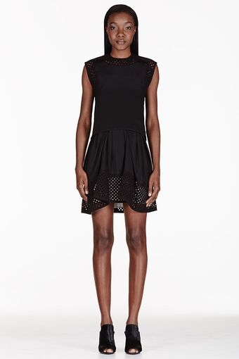 3.1 Phillip Lim Black Silk Laser Cut Polka Dot Dress - Lyst