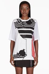 3.1 Phillip Lim White Embellished Sheer Panel T_shirt - Lyst