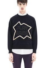 Acne College Patch Navy - Lyst