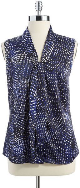 Anne Klein Sleeveless Tie Neck Top - Lyst