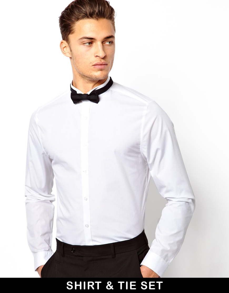 Lyst Asos Smart Shirt With Wing Collar And Bow Tie Set In White