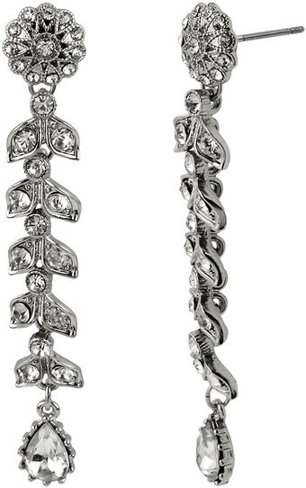 Betsey Johnson Crystallized Flower Linear Earrings - Lyst