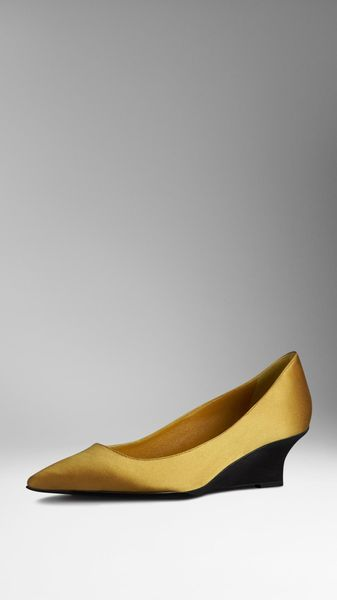 Burberry Silksatin Kitten Wedges - Lyst