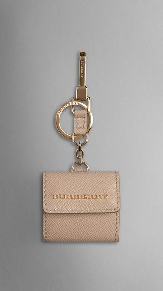 Burberry Patent London Leather Photo Key Charm Beige - Lyst
