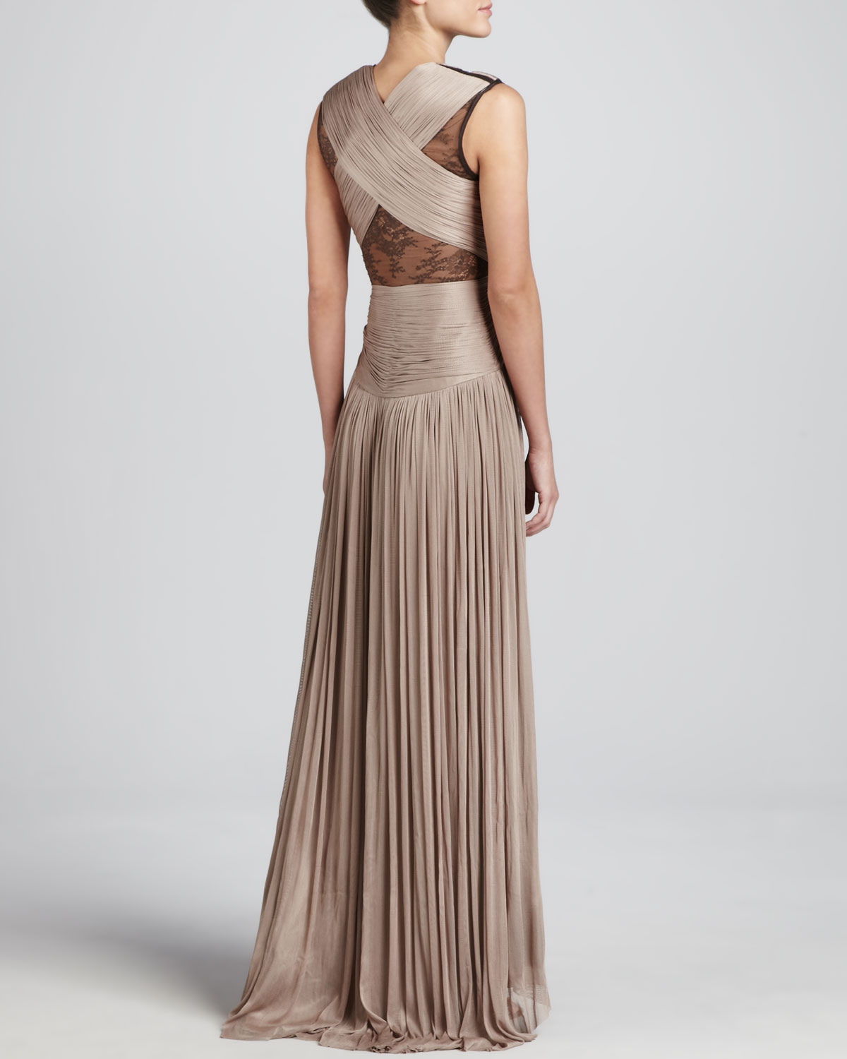 Lyst - Catherine Deane Mercury Pleated Laceinset Gown in Brown
