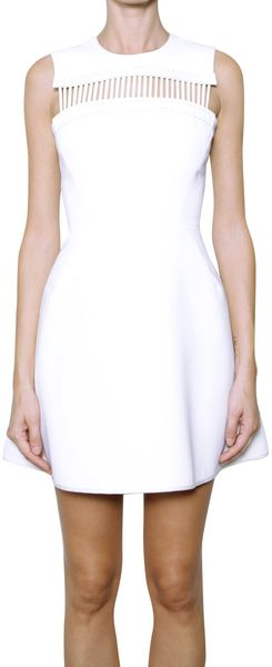 David Koma Viscose Dress with Leather Details - Lyst