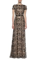 David Meister Signature Shortsleeve Lace Overlay Belted Gown - Lyst