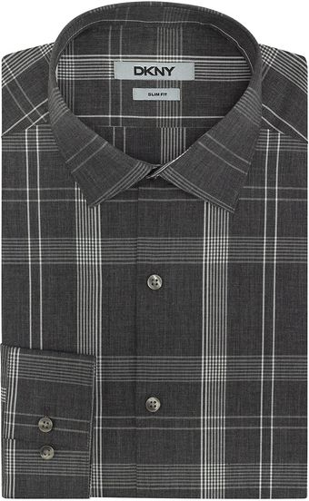 DKNY Plaid Slim Fit Dress Shirt - Lyst
