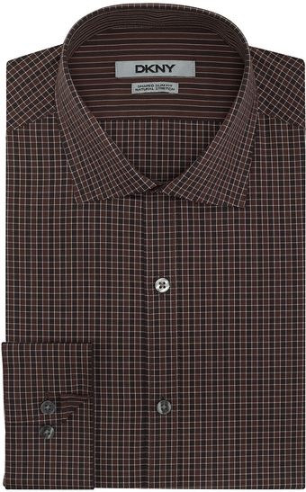 DKNY Graphic Check Slim Fit Dress Shirt - Lyst