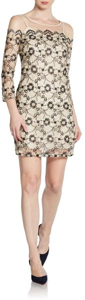 DKNY Embroidered Illusion Shift Dress - Lyst