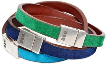 DSquared2 Three Multicolor Logo Leather Bracelets - Lyst
