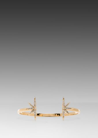 Elizabeth And James Northern Star Bangle with White Topaz in Metallic Gold - Lyst