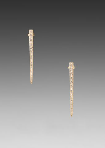 Elizabeth And James Northern Star Long Post Earring with White Topaz in Metallic Gold - Lyst