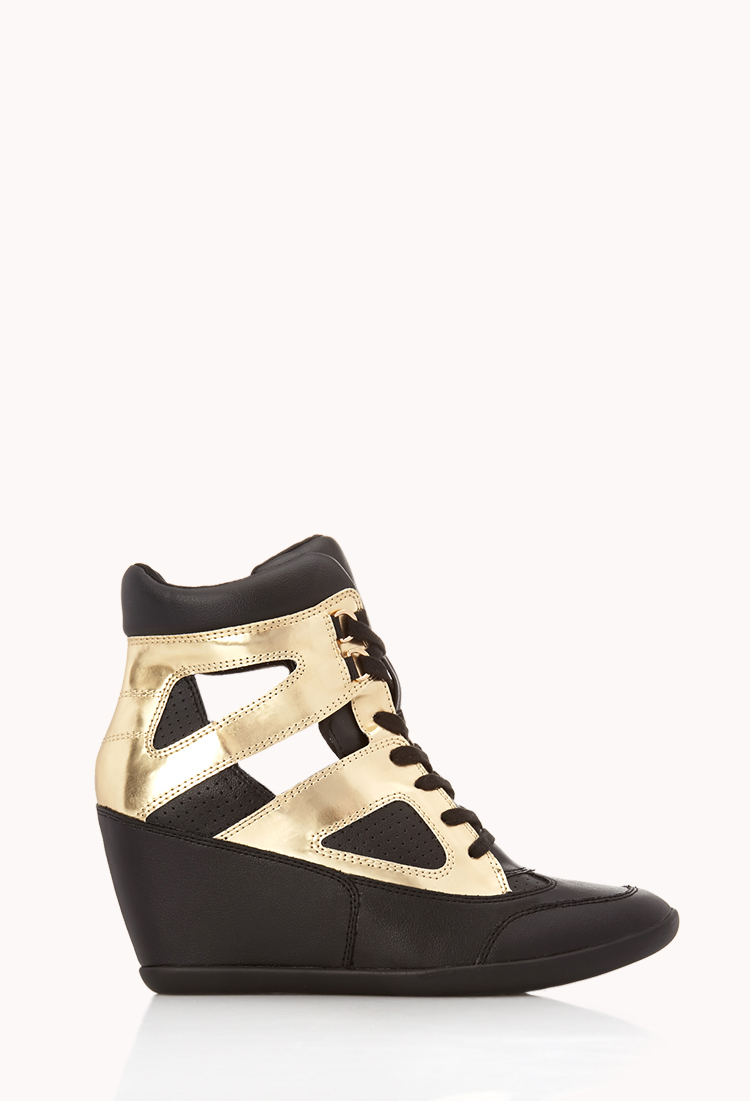 Lyst - Forever 21 Clear Cut Wedge Sneakers in Metallic e677976c1