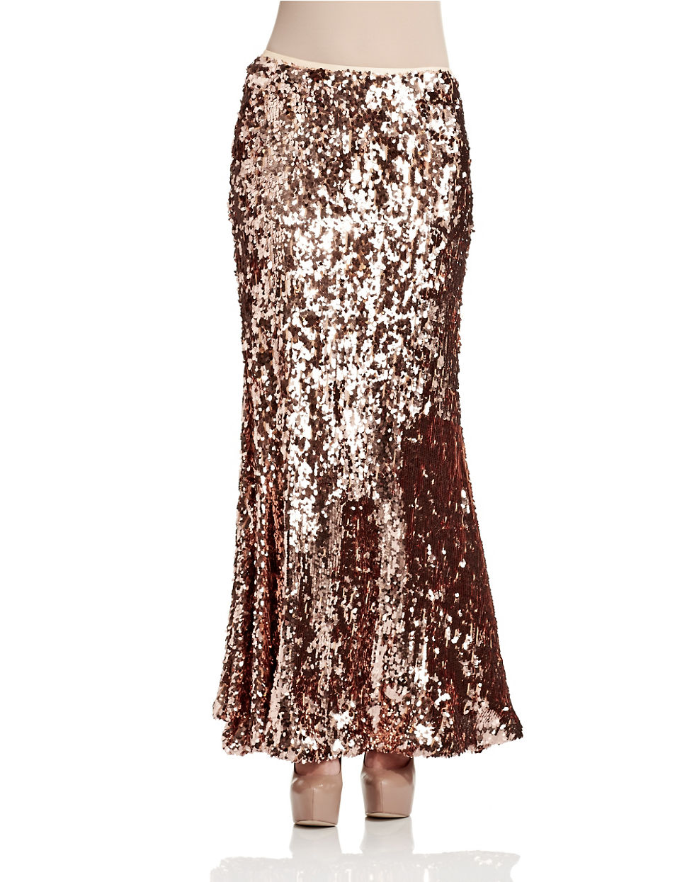 free sequined maxi skirt in gold lyst