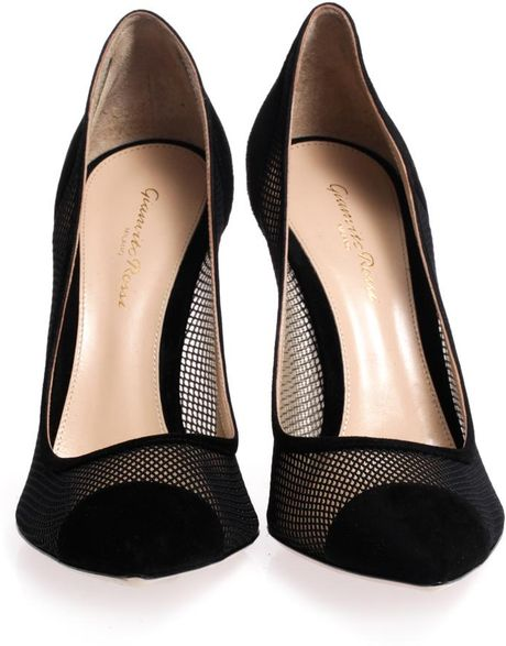 Gianvito Rossi Mesh Pointtoe Suede Pumps In Black Lyst