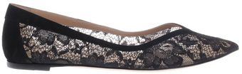 Gianvito Rossi Lace Point Toe Flat Shoes - Lyst