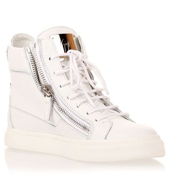 Giuseppe Zanotti White Leather Hightop Sneaker - Lyst