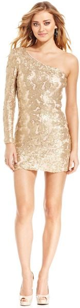 Guess One-shoulder Sequined Dress - Lyst