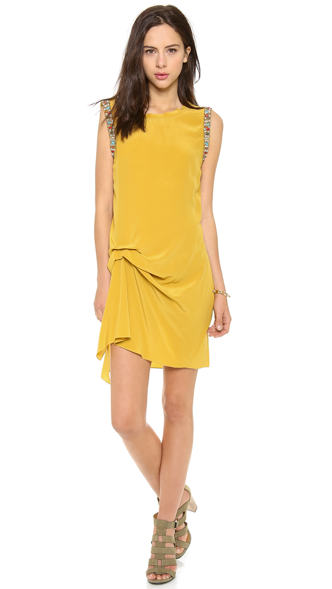 haute-hippie-goldenrod-side-gather-dress
