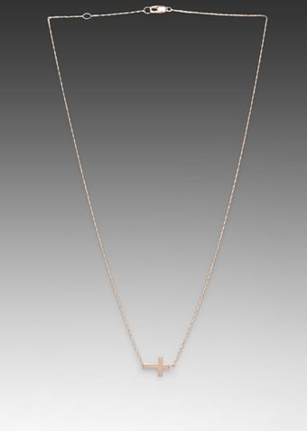 Jennifer Zeuner Theresa Horizontal Cross Necklace in Rose - Lyst