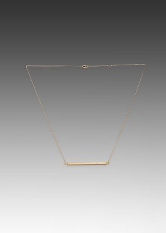 Jennifer Zeuner Horizontal Bar Necklace with Diamond in Metallic Gold - Lyst