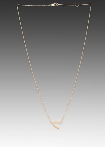 Jennifer Zeuner Wishbone Necklace in Metallic Gold - Lyst