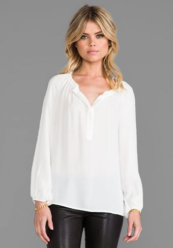 Joie Lilou Matte Silk Blouse in White - Lyst