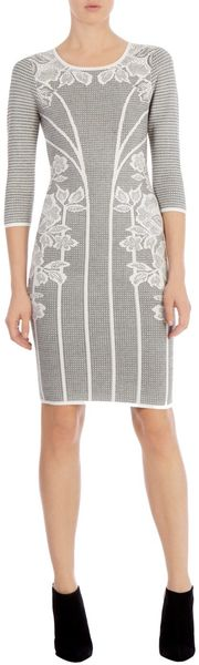 Karen Millen Lace Jacquard Knit Dress - Lyst