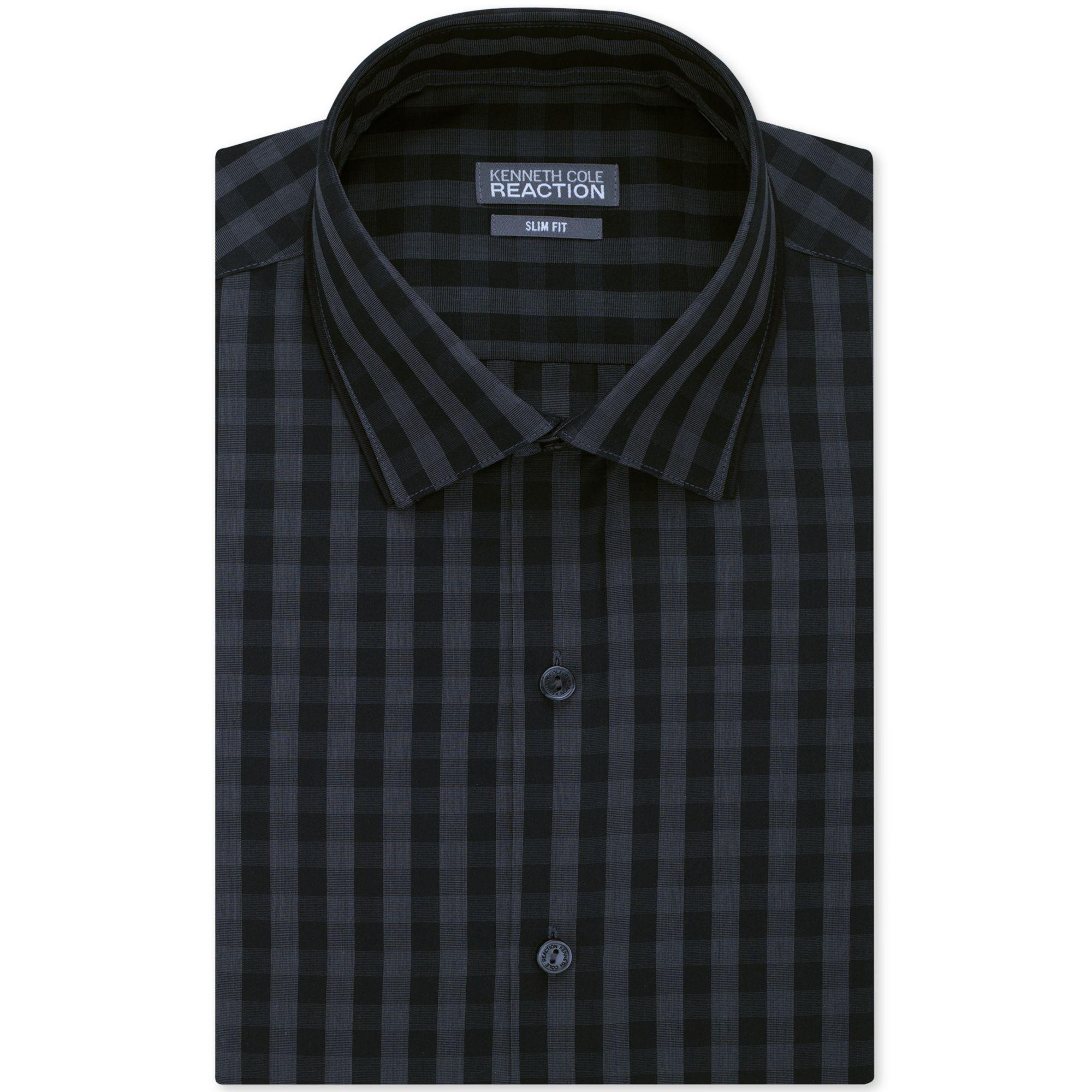 Kenneth cole reaction slim fit black tonal plaid dress for Mens black plaid dress shirt