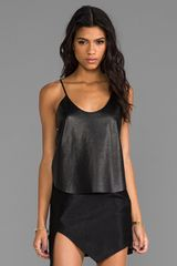 Mason by Michelle Mason Crop Leather Tank in Black - Lyst