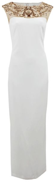 Notte By Marchesa Embroidered Illusion Neckline Dress - Lyst