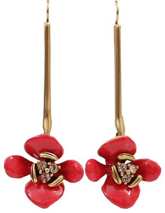 Oscar de la Renta Painted Flower Drop Earrings - Lyst