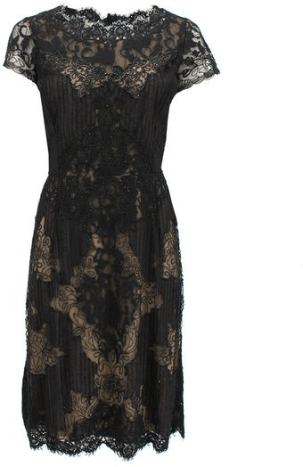 Oscar de la Renta Short Sleeve Lace Bead Embroidered Dress - Lyst