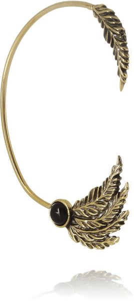 Pamela Love Feather Goldtone Onyx Ear Cuff - Lyst